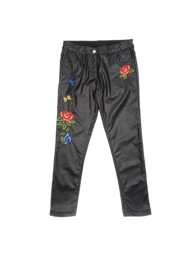 Panço Kız Çocuk Deri Pantolon 1722117100 Siyah